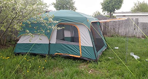 Ultralarge 6-12 Double-Layered Outdoor 2 Living Rooms and 1 Room Family Camping Tent of The Large Space Tent