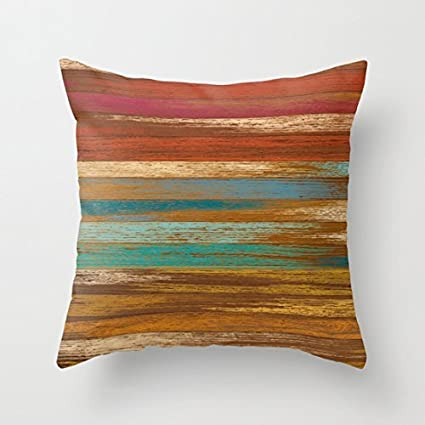 Amazon Simple Design Pillowcase Wood Panel Multicolor Inspiration Multicolored Decorative Pillows
