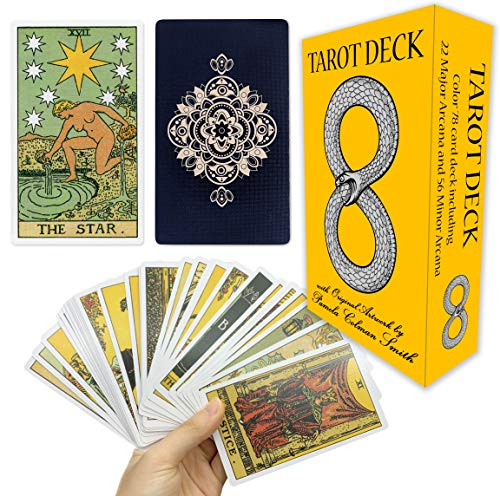 Classic Tarot Cards Deck with Original Pamela Colman Smith Artwork. This Premium Rider Waite Tarot Deck is a Long Lasting 78 Card Tarot Set for Beginners and Experienced Readers. Everyday Tarots Cards