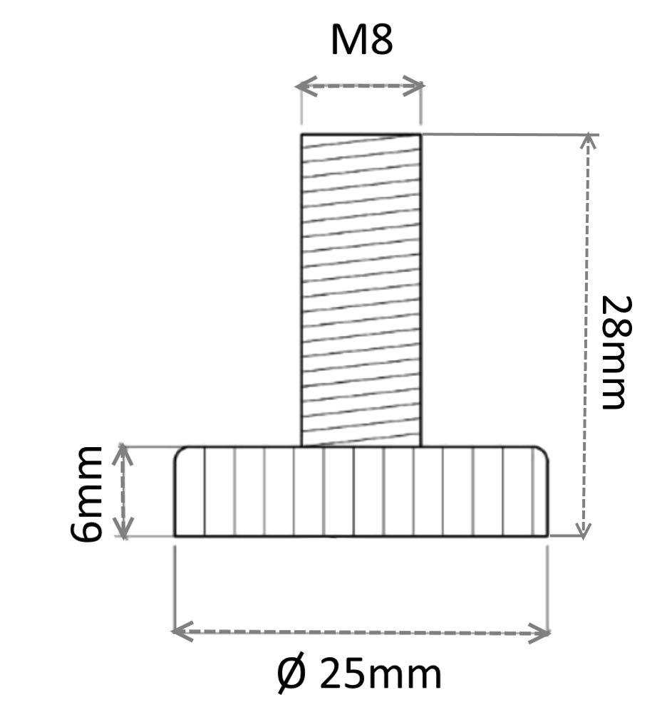 10 piezas AERZETIX Patas ajustables regulables para muebles M8 para atornillar /Ø25 H28mm gris C42476