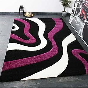 Alfombra para el salón motivo ondas, contorno cortado a mano, muy mullida, en negro, morado y blanco - Vimoda, Maße:120x170 cm