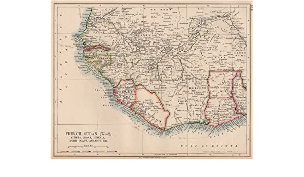 French Africa Map.Amazon Com French Sudan W Colonial West Africa Sierra Leone Ivory