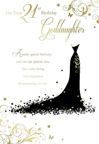 On Your 21st Birthday Goddaughter Dress Design Happy Card Amazoncouk Kitchen Home