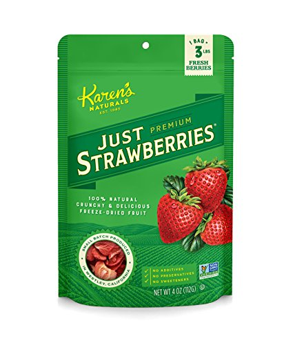 Karen's Naturals Just Strawberries, 4 Ounce Pouch, Freeze-Dried Strawberries, Non-GMO, No Additives, No Preservatives, No Sweeteners (Garden Tomato Crunchies)