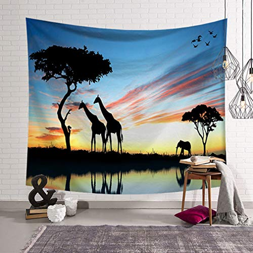 Baisheng Wild Animal Indian Elephant Tapestry, Hippie Mandala Wall Hanging Tapestry For Decorating Bedroom & Living Room & Dorm (59x51 Inch/ 150x130 CM)