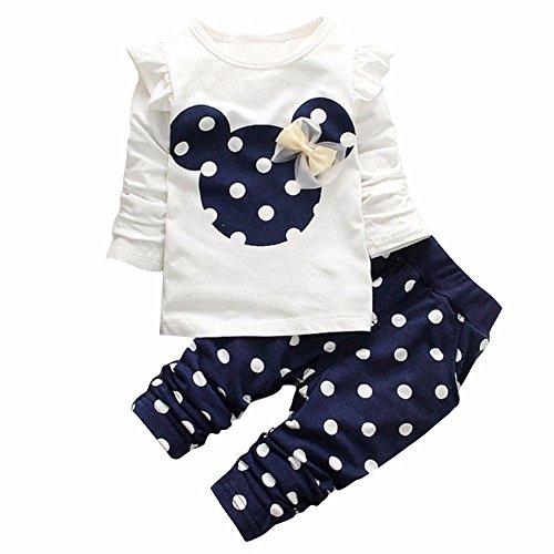 Tiaobug Babykleidung Baby - Mädchen Bekleidung im Set mit Langarmshirt und Hose 80 86 92 98 Marineblau 92 (Herstellergröße:100)