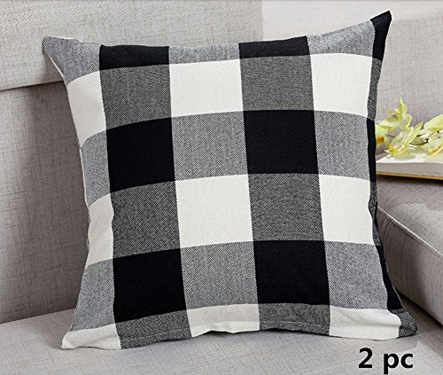 Ukeler 2-pack Black and White Buffalo Check Retro Plaid Throw Pillow Cover Linen Square Decorative Cushion Cover Throw Pillowcase for Sofa/Car/Bed/Chair, 17.7''x17.7'' - Multi Stripe Square Rug