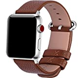 15 Colors for Apple Watch Bands, Fullmosa Yan Calf Leather Replacement Band/Strap for iWatch Series 3, Series 2, Series 1, Sport and Edition Versions 2015 2016 2017, 42mm Brown