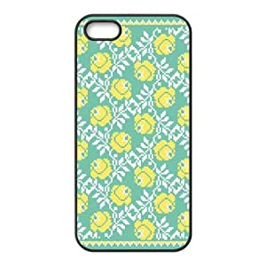 iPhone 5 5s Cell Phone Case Black Yellow Blue Flowers Clbwy
