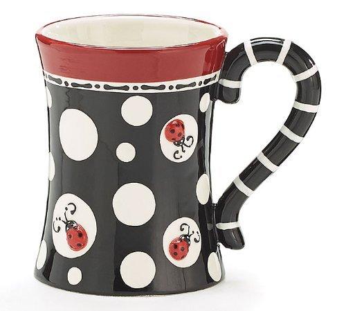 Ladybug Dots Raised Lady Bug 15oz Coffee Mug Tea Cup Adorable Gift -
