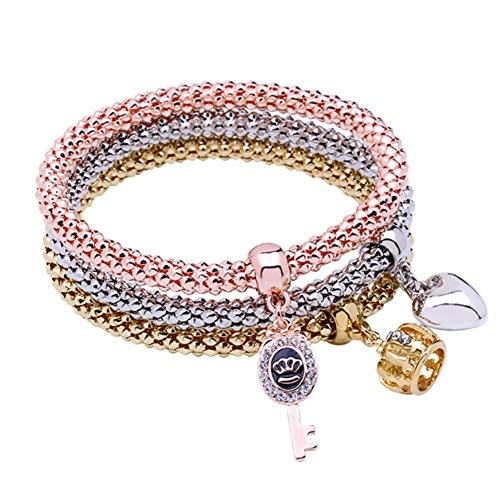 Stretch Bracelets I's 3PCS Gold/Silver/Rose Gold Corn Chain Crystal Charms Multilayer Bracelets for Women (Crown & Love Heart & Key)