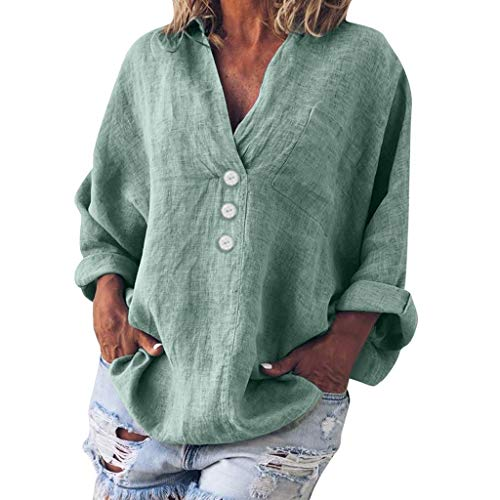 TUSANG Women Tees Plus Size Fashion Solid Casual Linen V-Neck Button Blouse T-Shirt Loose Fit Comfy Tunic(B-Green,US-4/CN-S)