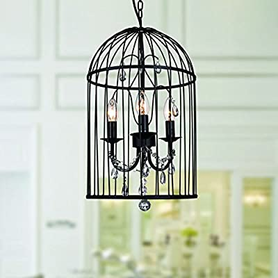 Emberlee Black Acrylic, Metal 3-light Cage Chandelier, Black Finish