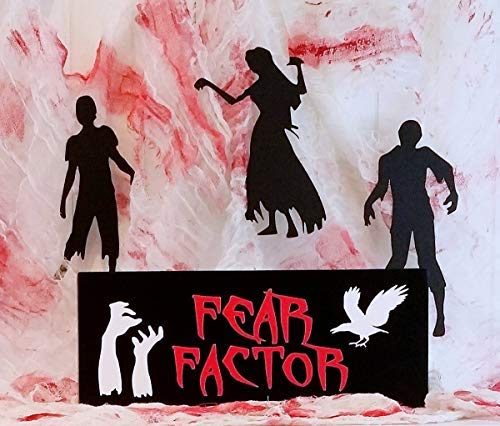 Funlaugh Halloween Fear Factor Sign Zombie Hands Raven Decor Halloween Tabletop Decoration Zombies Party Decor Wooden Plaque Sign Crafts for Living Room Decorative -