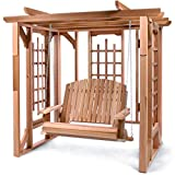 All Things Cedar PO72-S Cedar Pergola Garden Arbor Swing Set