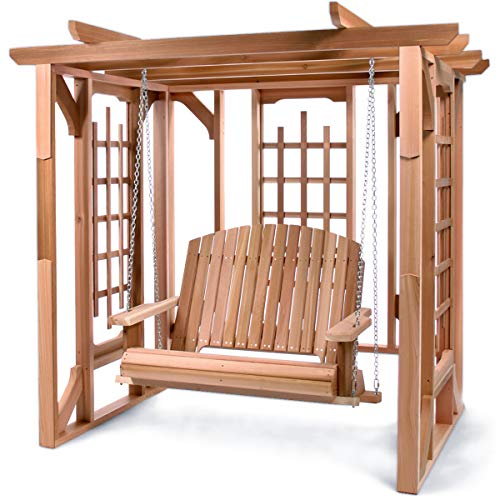 - All Things Cedar PO72-S Cedar Pergola Garden Arbor Swing Set