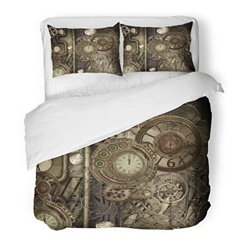 SanChic Duvet Cover Set Antique Steam Punk Clocks and Gears 3D Rendering Decorative Bedding Set with 2 Pillow Shams Full/Queen Size ()