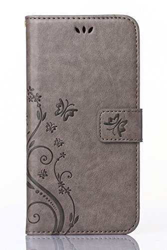 Samsung Galaxy Core LTE 4G SM-G386F/ Avant G386T Case,C-Super Mall PU embossed butterfly & flower Leather Wallet Stand Flip Case for Samsung Galaxy Core LTE 4G SM-G386F/ Avant G386T(gray) (Phone Samsung Avant Wallet Case)