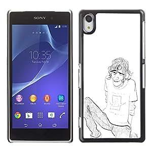 """For Sony Xperia Z2 Case , Chico Chico Hombre Lápiz Chilling Art Dibujo Cejas"""" - Diseño Patrón Teléfono Caso Cubierta Case Bumper Duro Protección Case Cover Funda"""