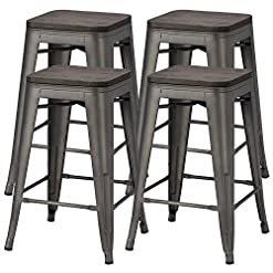 Farmhouse Barstools Yaheetech 24 inches Metal Bar Stools Counter Stool Indoor/Outdoor Stackable Barstools Counter Wood Top/Seat Bar Stools… farmhouse barstools