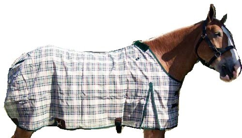 (Derby Originals Horse Fly Sheets Super Tough Extra Strong Plaid, Black/Beige, 75