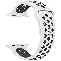 Apple Watch 1 2 3 için 42 MM Beyaz Siyah Silikon Kordon Kayış