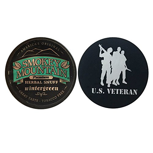 Smokey Mountain Herbal Chew or Snuff Wintergreen - 1 Can - Includes DC Skin Can Cover (Veteran Skin) (Skoal Long Cut)