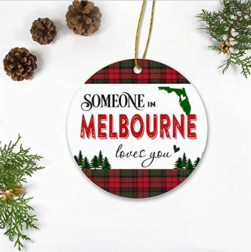 Christmas Ornaments 2019 - Someone In Melbourne Florida State Love You - Long Distance Relationships Gifts For Family And Friend - Keepsake Xmas Ornaments Ceramic 3 Inches (Melbourne 2019 In Christmas)