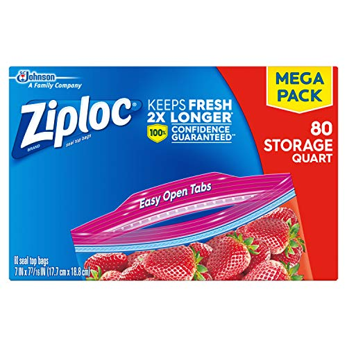 Ziploc Storage Bags, quart, 80 Count (Pack of -
