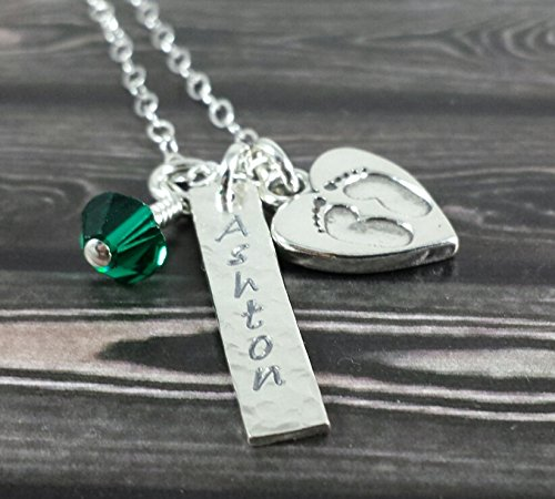 (Personalized Mommy Necklace - New Baby Expecting Mom Mommy- Tag Necklace and Heart Baby Feet Charm - Hand Stamped Sterling Silver)