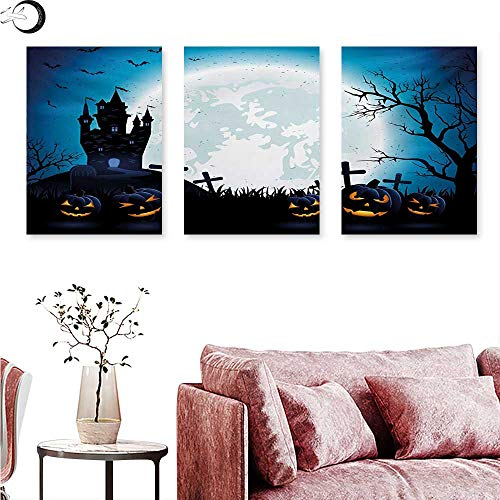 Anniutwo Halloween Wall Decoration Spooky Concept with Scary Icons Old Celtic Harvest Figures in Dark Image Holiday Print Wall Painting Blue W 24