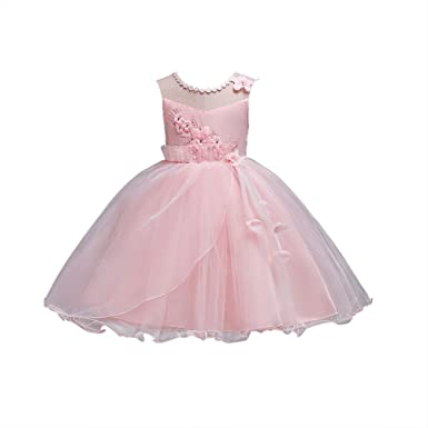 Girls Dresses Size 6 Blush Sleeveless 4-5 Years for Wedding Pageant Dresses for Girls