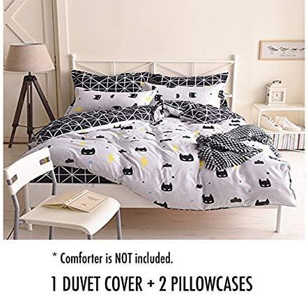 LuDan Full Bed Set Beddingset Duvet Cover Set Without Comforter Insert Pillowcases for Kids Children Superman Batman Mask Design 3pc Bedding Batman Mask, Full