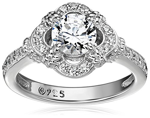 Platinum-Plated Sterling Silver Swarovski Zirconia Antique Frame Halo Ring (1 cttw), Size 5