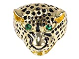 Alilang African Leopard Golden Tone Emerald Eye Jewelry Lovely Fashion Sized Ring, Size 9
