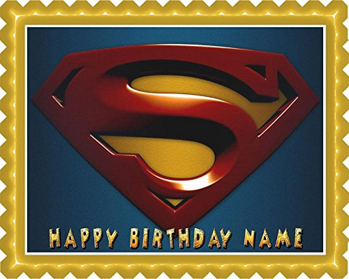 SUPERMAN LOGO - Edible Cake Topper - 7.5