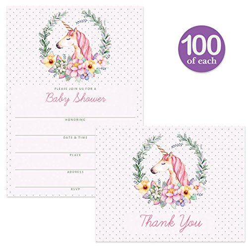 Unicorn Baby Shower Invitations & Matching Thank You Cards Set ( 100 of Each ) Envelopes Included, Large Event Gender Neutral Cute Fill-In-Style Invites & Folded Thank You Notes Best Value Pair by Digibuddha