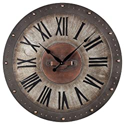 Sterling 128-1005 Metal Roman Numeral Outdoor Wall Clock, 24-Inch, Jardim Grey with Copper Highlight