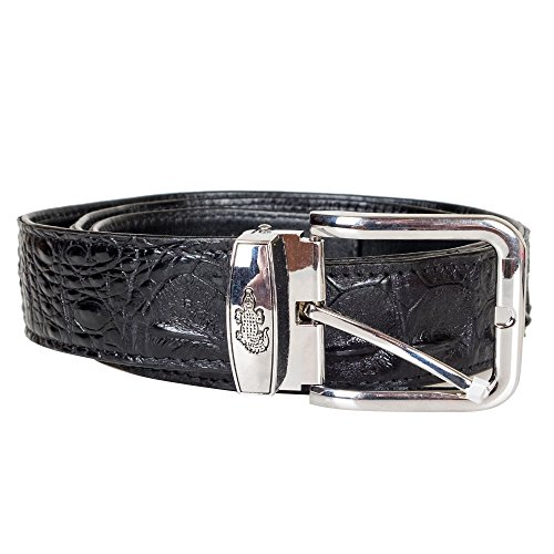 Genuine Crocodile Skin Backbone Leather Jean Pant Belt Modern Men's Casual Dress (Black) (Exotic Skin Belts)