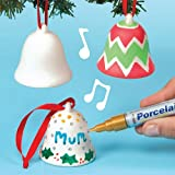Baker Ross Porcelain Painting Ceramic Bells (Pack of 4) For Kids To Decorate, Paint Your Own Arts & Crafts Activities