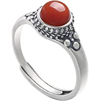 LOVECOM 100% Real 925 Sterling Silver Ring Southern Red Agate Open Rings Wedding Bands For Women Lady Gifts Fashion…