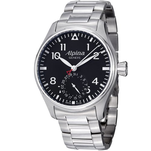Alpina Startimer Pilot Automatic Black Dial Steel Bracelet Mens Watch AL710B4S6B