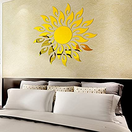 Buy Hasthip Diy Sun Mirror Wall Stickers For Wall Decor Online At