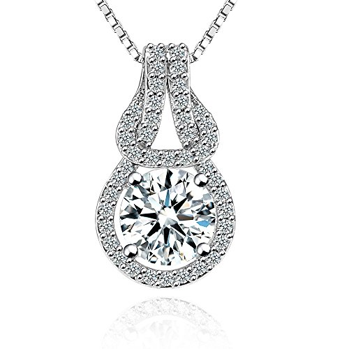 Fleur Rouge - fleur rouge Round Halo CZ Pendant Necklace 18k White Gold Plated Cubic Zirconia Round Halo Pendant Necklace with Box Chain