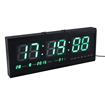 Yosoo Gran Verde Digital LED Calendario Reloj con Día y Fecha-Shelf o Reloj de Pared: Amazon.es: Hogar