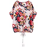Floral Summer Blouses Women Shirts Tops Print Loose Lace Up Lady blouse
