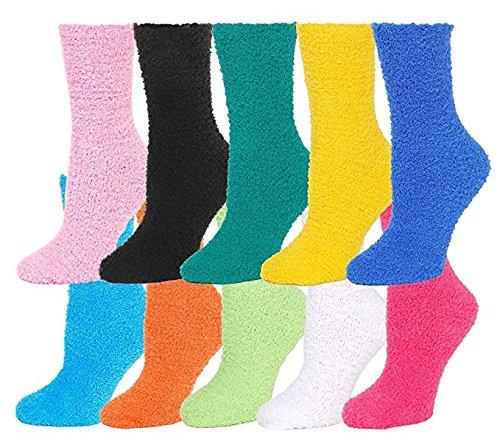 12 Pairs Fuzzy Socks, Slipper Sock,Plush Socks, Soft & Cozy,Size: 9-11 Solid