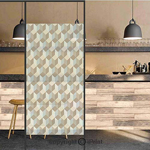 3D Decorative Privacy Window Films,Abstract Three Dimensional Effect with Cubes Pattern Contemporary Art,No-Glue Self Static Cling Glass Film for Home Bedroom Bathroom Kitchen Office 24x36 Inch