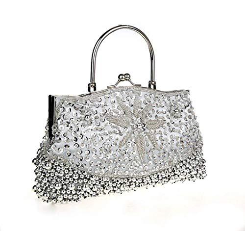 Argento Cheongsam Con Perline Isogea Dimensione A Argento colore Fatte Borse Mano Borsetta Donna Vintage Handbag Da Cinesi Borsette tIww6qWP