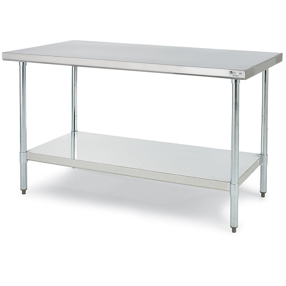 Amazon.com: John Boos 18 Gauge Stainless Steel Economy Flat Top Work Table  With Galvanized Base And Shelf, 72 X 24 Inch    1 Each.: Workbenches:  Kitchen U0026 ...